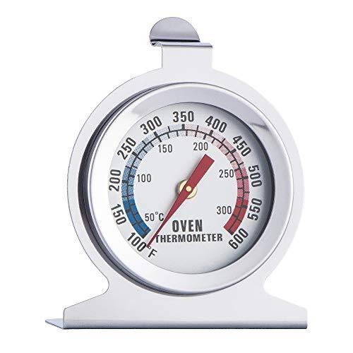 Gobesty RVS wijzerplaat Oven Thermometer, Oven Thermometer Keuken Ambacht voor Barbecue Keuken Koken - Hang of Stand in Oven (Zilver)