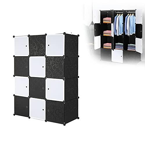 SXLHKJL - Armadietto a 12 cubi con 2 aste per vestiti, colore: Nero Bianco