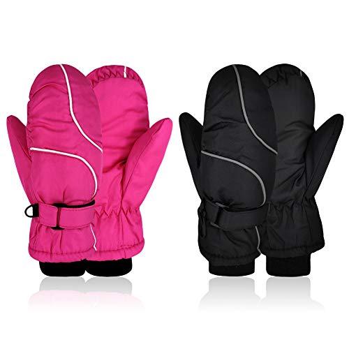 2 Pairs Kids Ski Mittens Waterproof Warm Winter Ski Snow Outdoor Gloves Mittens Thinsulate Thick Gloves Toddler Boys Girls Snowboard ski Mitten Gloves for Cold Weather Snowboard (Black & Pink)