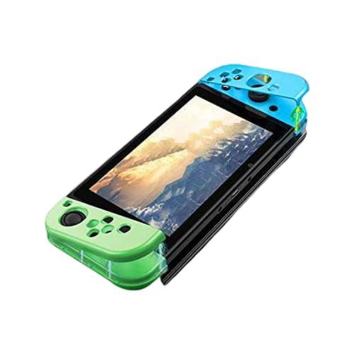 Antetek Capa protetora de policarbonato rígido com design magnético compatível com Nintendo Switch, capa de cor clássica antiarranhões compatível com console Nintendo Switch e Joy-Con (verde e azul + capa transparente)