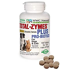 Vet recommended and top Show Dogs use Total-Zymes Plus. Enzymes and probiotics in a convenient tablet. Top seller for over 9 years. American rated #1 for healthy pets. Vegetarian approved. Total-Zymes PLUS is a full strength combination of 16 digesti...