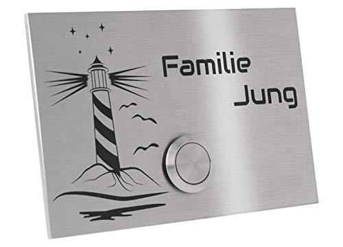 Jung-Edelstahl-Design Türklingel mit Gravur Motiv Leuchtturm. Klingelplatte 12x8 cm. Led Klingeltaster weiss. Klingelschild V2a Edelstahl. (Taster ohne LED)