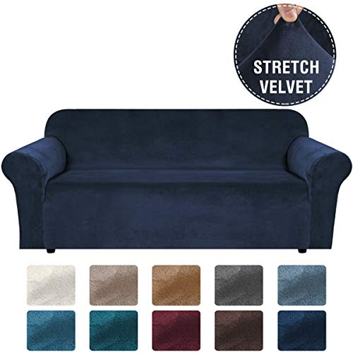 H.VERSAILTEX Stretch Velvet Sofa Covers Large Couch Covers Sofa Slipcovers with Non Slip Straps Underneath The Furniture, Feature Thick Comfy Rich Velour (Extra Wide Sofa 96'-116', Navy)