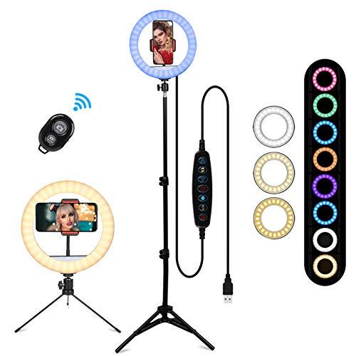 BLOOMWIN Aro de Luz 10'' LED Anillo de Luz 26 Colores RGB Regulable con 2 Trípodes y Soporte para Teléfono 3 Modos y 10 Brillos Control Remoto Bluetooth para Selfie Youtube Video Tiktok Maquillaje