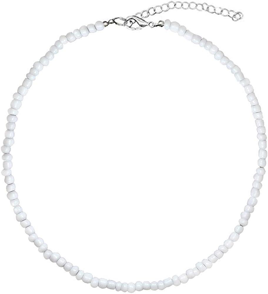 Puka Shell Necklace Hawaiian White Turquoise Bead Choker Beach Necklace for Women Girls (White Bead)