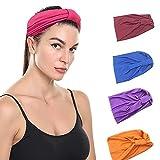 HAIRAN 4 unidades de cinta para el pelo para mujer, deporte, yoga, bandas para el pelo anchas, elásticas, multicolor, turbantes suaves, para el día a día, fitness