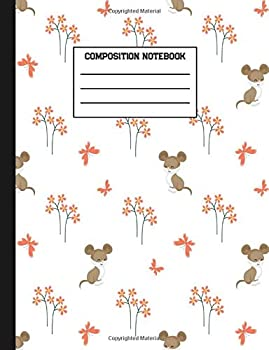 Paperback Composition Notebook: Pretty Mouse Animal Wide Ruled Paper Blank Lined Journal Book