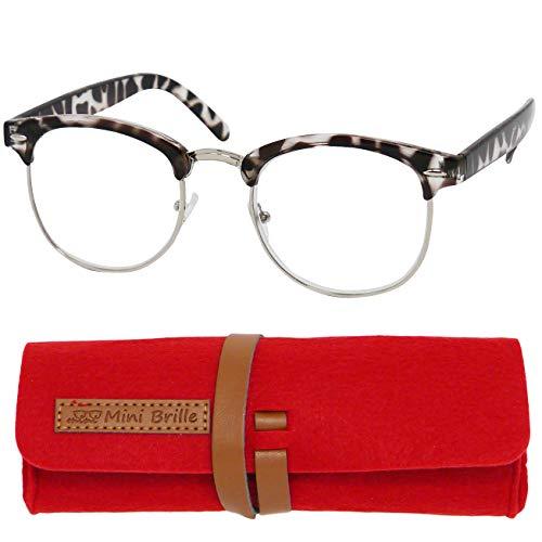 Vintage Lesebrille mit großen runden Gläsern - mit GRATIS Brillenetui, Metall Rahmen und Kunststoff Brillenbügel (Leopard Schwarz), Lesehilfe für Damen und Herren +2.5 Dioptrien