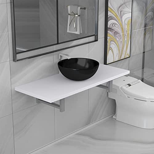 FAMIROSA Conjunto de Muebles de baño 2 Piezas cerámica blanco-9363