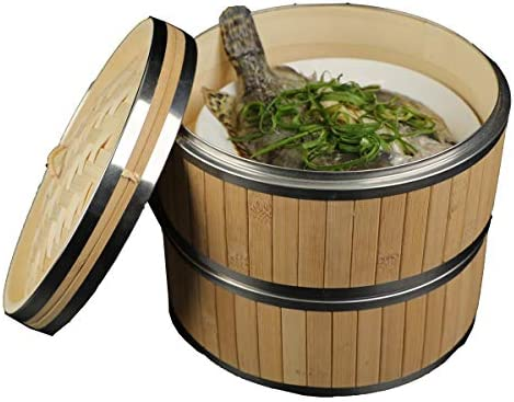 Bamboo Steamer Basket 10 Inch Two Tier Food Steamer for Cooking with 2 pcs Reusable Silicone product image