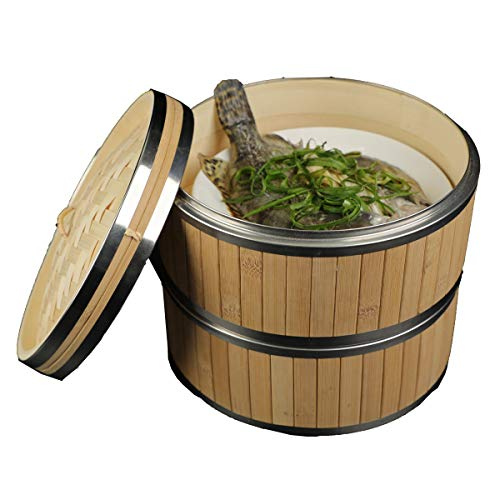Bamboo Steamer Basket 10 Inch- Two-Tier Food Steamer for Cooking with 2 pcs Reusable Silicone Steamer Liners- Chinese Steamer Pot for Vegetables, Dumplings, Bao Buns, Rice & Dim Sum