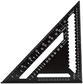 ASNOMY - Righello triangolare metrico da 30 cm, nero a triangolo con goniometro quadrato, in lega di alluminio di alta pre...