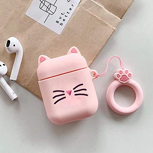 Accesorios para auriculares de Apple Airpods Lindo gato de dibujos animados de silicona Bluetooth inalámbrico funda para auriculares cargador de Airpods, funda protectora rosa (color: rosa)