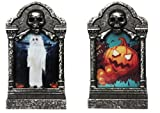 Set of 2 LED Light Up Halloween Tombstone Lantern Candle Decorations