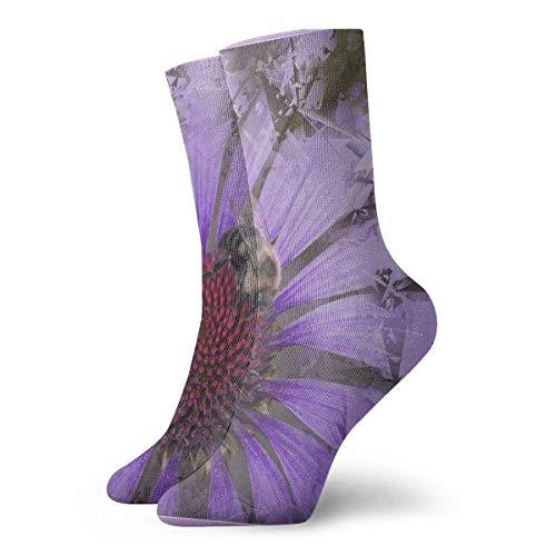 Drempad Luxury Sportsocken Purple Echinacea of Bee Framed Adult Short Socks Cotton Cozy Socks for Mens Womens Yoga Hiking Cycling Running Soccer Sports