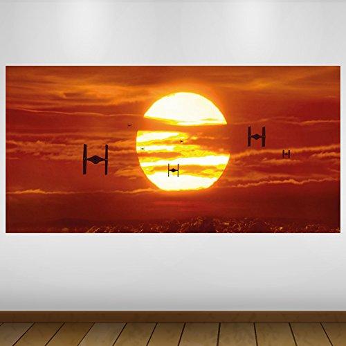 LagunaProject Extra Grande Sunset cazas imperiales de Star Wars de Vinilo de fantasía Póster - Mural Decoración - Etiqueta de la Pared -140cm x 70cm