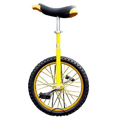 Monociclo,Ajustable Antideslizante Duradero Acrobacia Equilibrio Bicicleta Ejercicio Rueda Entrenador,SillíN ErgonóMico Contorneado Adecuado para Principiantes / 16 inches/amarillo