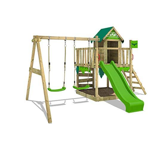 FATMOOSE Parco giochi in legno JazzyJungle Giochi da giardino con altalena e scivolo verdemela, Casetta da gioco per l'arrampicata con sabbiera e scala di risalita per bambini