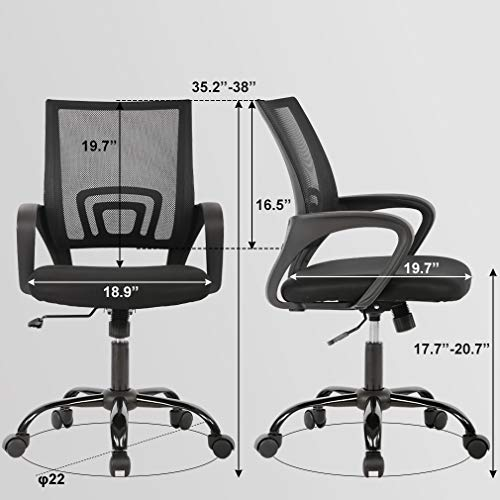 Home Office Chair Ergonomic Desk Chair Mesh Computer Chair with Lumbar Support Armrest Executive Rolling Swivel Adjustable Mid Back Task Chair for Women Adults, Black