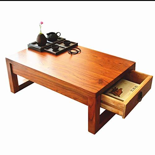 Tables basses Meubles Séjour en Bois Massif Multifonction Balcon en Bois Massif lit Ordinateur de Bureau avec tiroir Tables (Color : Wood, Size : 70 * 40 * 30cm)