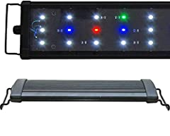 LEDs: 15x 0.50W (700 lumen) Config: 8x 10000K, 3x Actinic 460nm, 2x Red 620nm, 2x Green 520nm Timer Ready, 2 Mode Day / Night Suitable for freshwater, plants, cichlid 1 Year Warranty*