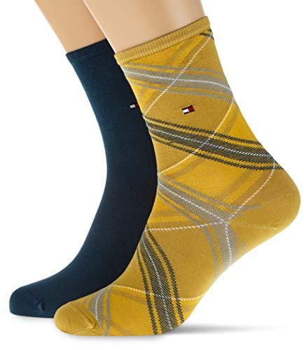 Tommy Hilfiger Th Women Sock 2p Tartan chaussettes, Jaune Pâle, 39/42 (lot de 2) Femme