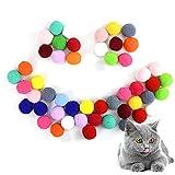 50 pcs Chat Balle, Jouet Chat Peluche, Chat Pompons Boules de 3 cm, Chat Balles Colorées, Élastiques Balles, Jouet Interactifs pour Animaux de Compagnie