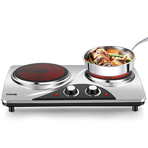 CUKOR Portable Electric Stove, 1800W Infrared Double Burner Heat-up In Seconds, 7.1 Inch Ceramic Glass Double Hot Plate Cooktop for Dorm Office Home Camp, Compatible w/All Cookware