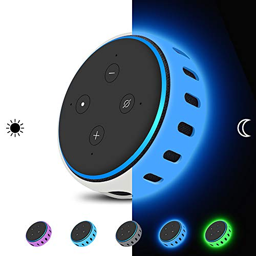 Silicone Protective Case Cover Skin for All-new Alexa Echo Dot (3rd generation) Smart speaker,Dot 3 Gen Personalized[Ultra Light]Shockproof Table Holder Accessories Glow in the Dark