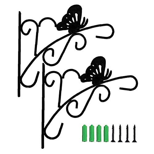 LjzlSxMF Alimentador de pájaros Perchas Planta al Aire Libre de la suspensión Colgar de la Pared de la Planta Soporte del Soporte del Gancho de Metal para Flower Pot Bird Feeder Negro 2 Piezas