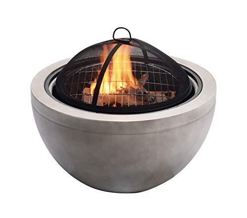 Peaktop HR30180AA Concrete Round Charcoal and Wood Burning Fire Pit Bonfire for Outdoor Patio Garden Backyard Decking with Spark Screen, Grate, and BBQ Grill, 30
