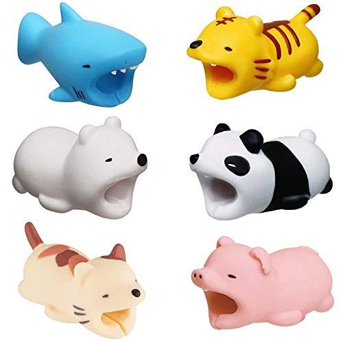 Kalolary 6PCS Cable Protector, Cable Cord Protector Simpatici animali Varie fascette per cavi Cable Accessori telefonico da proteggere, tra cui Tiger/Pig/Orso polare/Squalo/Panda/Gatto