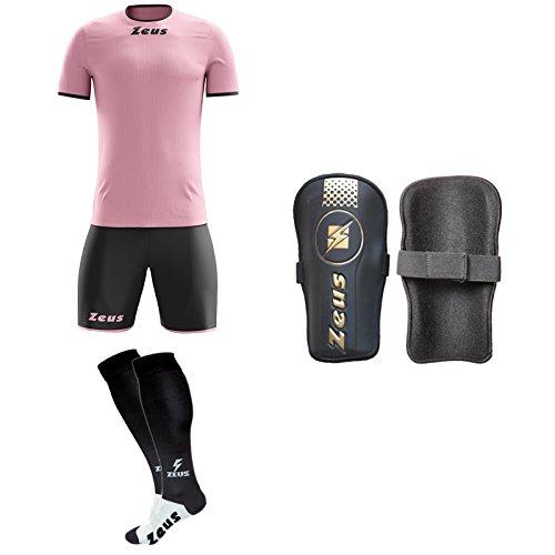 Zeus Fußballset mit Strumpfhalter und Schienbeinschoner für Fußballfans, ROSA-Nero, XS