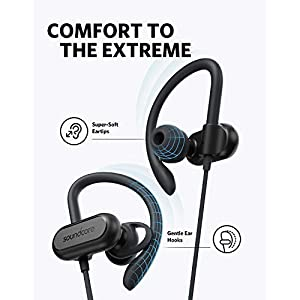 Wireless Bluetooth Headphones, Soundcore Spirit X Sports Earphones by Anker, Bluetooth 5.0, 12-Hour Battery, IPX7 Wireless Earbuds, Noise Isolation, SweatGuard Technology for Workout (Black)