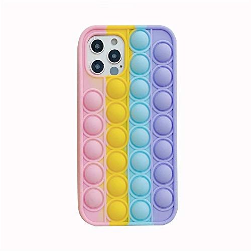 Fidget Toys Phone Case, Push Poping Bubble Silicone Protecive Phone Case for iPhone 12 pro max/12 pro/12/11 pro max/11 pro /11/xr (Multicolor, for iPhoneXR)