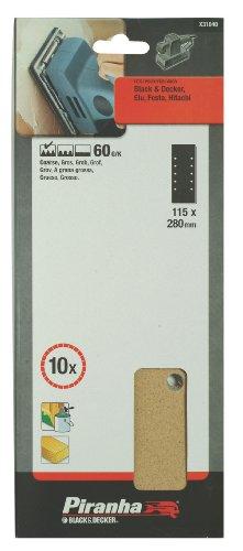 Preisvergleich Produktbild Piranha Schleifstreifen (gelocht,  Körnung 60,  grob,  115x280 mm,  Black+Decker / Elu / Festo / Hitachi) 10 Stück,  X31040