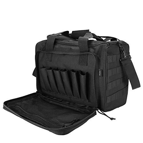 Dimensioni della borsa del poligono di tiro: 36 x 26.4 x 22.6 cm / 14.2″x10.4″x8.9″, più scomparti completamente imbottiti e tasche offrono ampio spazio per trasportare armi da fuoco, pistole, caricatori, munizioni, protezioni per le orecchie, mu...