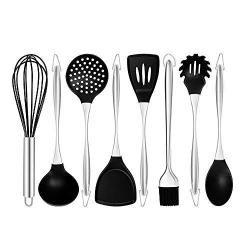 xingxing Juego de utensilios de cocina de silicona con mango de acero inoxidable para cocina, utensilios de cocina antiadherentes, kit de herramientas de horneado, cuchara de sopa (color: 8 piezas) B)