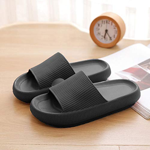 CloudFeet Ultra-Soft Slippers, Super Soft Home Slippers, Pillow Slides, Bathroom Non-Slip Thick Soled Shoes, Quick-Drying Shower Slides 40/41 Black