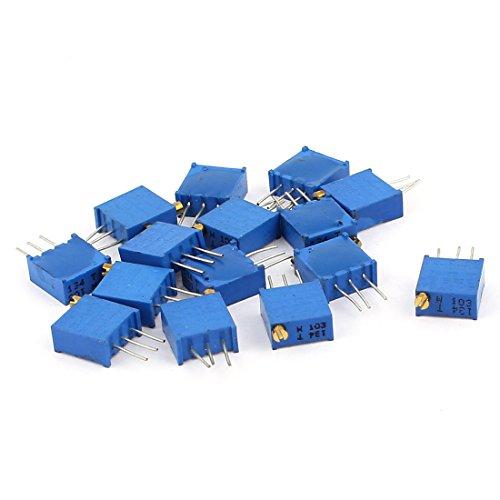 sourcingmap 15 Pcs 3296W 10K ohm Multiturn Potentiometer Pot Variable Resistor