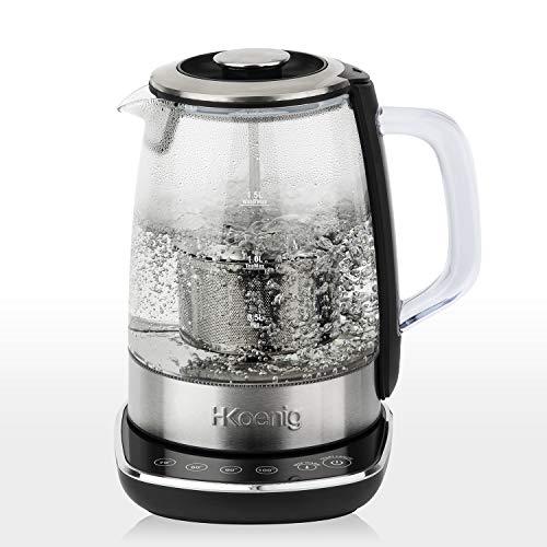 H.Koenig TI600Teiera automatica per tè tisane, Filtro rimovibile, Acciaio Inox Vetro, 1,5L, 2200W