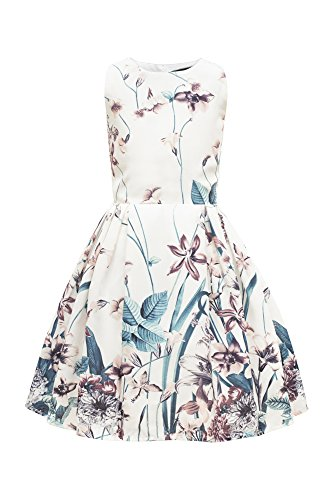 BlackButterfly Kinder 'Kira' Vintage Compassion Mädchen Kleid im 50er-Jahre-Stil (Elfenbein, 9-10 J / 134-140)