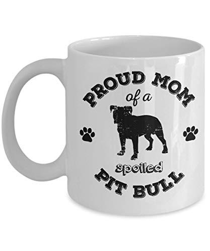 N\A Pitbull-Kaffeetasse - Stolze Mutter eines verwöhnten Pitbulls - Pitbull-Mutterbecher - Pitbull-Liebhabergeschenke - Hundeliebhabergeschenke (schwarzer Druck weißer Becher)