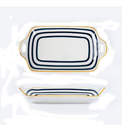 Xu Yuan Jia-Shop Platos Llanos Placa de Cena de cerámica Rectangular, Placa de Pescado Grande con Dos manijas, Postre Personalizado, Placa de Sushi, Familia y Uso de restaurantes. Platos de Comida