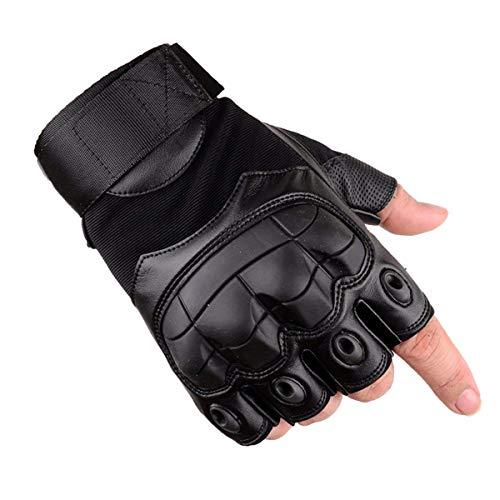 Avril Tian Guantes de Protección para Articulaciones, Medio Dedo De goma dura Nudillos para Ejercicios al Aire Libre, Senderismo, Camping, Ciclismo, motocicleta (XL, negro)