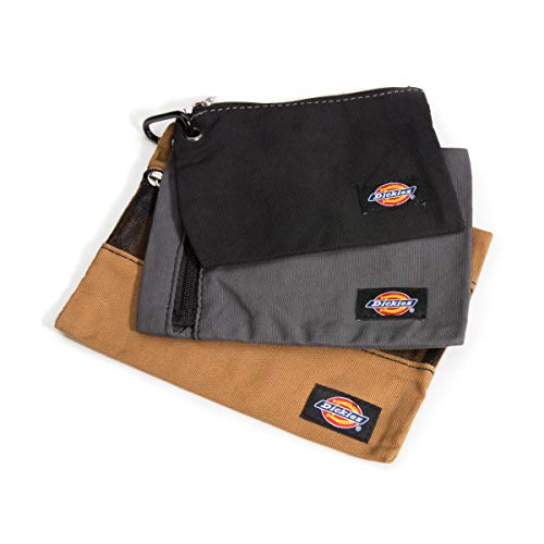 Dickies Set of 3 Small Canvas Utility Pouches, Zippered, for Organizing Small Tools and Fasteners, Grey/Tan/Black