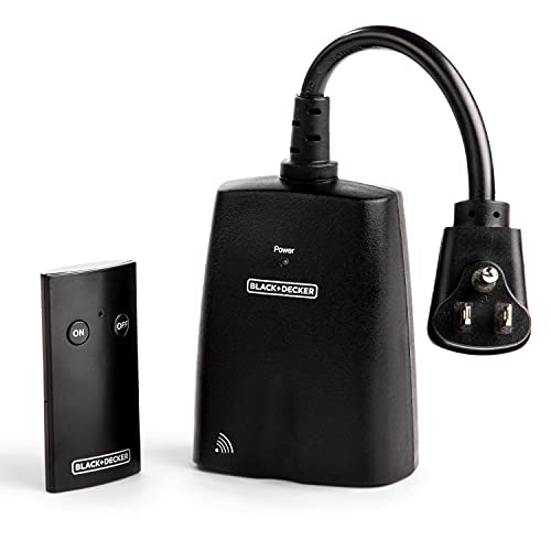 Black + Decker Wireless Outdoor Outlet with Remote, 2 Grounded Outlets - Remote Light Switches