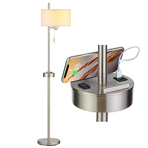 Modern USB Floor Lamp for Bedroom, RORIANO Decorative Standing Lighting,Tall Pole Lamp with Hanging Drum Shade for Living Room, Bedrooms, Office