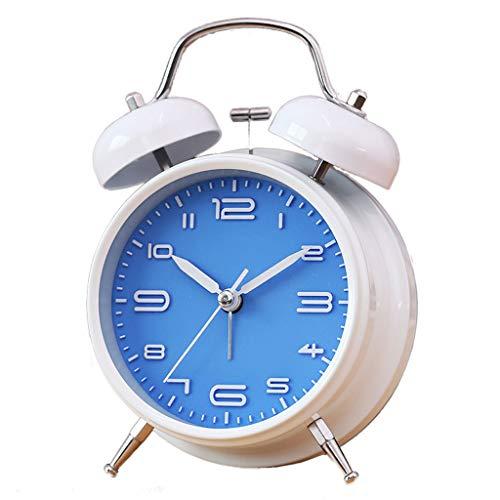 XT Eenvoudige Alarm Clock Mute Bedside Wekker Student Children's Met Night Light Leuke kleine wekker (Color : Blue)