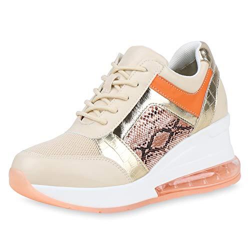 SCARPE VITA Damen Sneaker Wedges Keilsneaker Metallic Keilabsatz Schuhe Schnürer Prints Freizeitschuhe 192647 Creme Gold Orange Snake 39